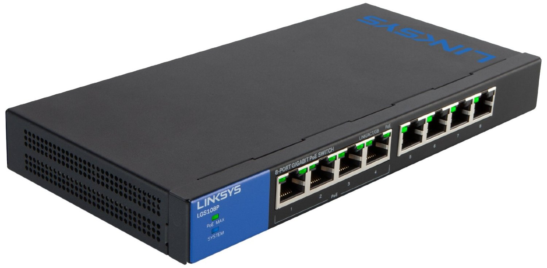 Switch Linksys LGS108P, 8-Port Desktop Business Gigabit PoE (LGS108P)